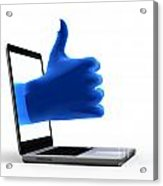 Okay Gesture Blue Hand From Screen Acrylic Print
