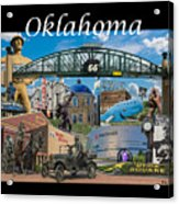 Oklahoma Collage With Words Acrylic Print