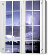 Old 16 Pane White Window Stormy Lightning Lake View Acrylic Print