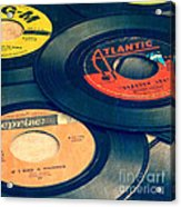 Old 45 Records Square Format Acrylic Print