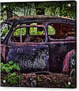 Old Abandoned Car In The Woods Acrylic Print
