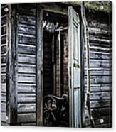 Old Abandoned Well House With Door Ajar Acrylic Print by Edward Fielding