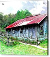 Old Barn Along Golden Road Filtered Acrylic Print