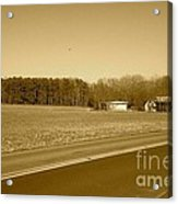 Old Barn And Farm Field In Sepia Acrylic Print