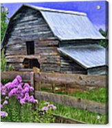 Old Barn And Flowers Acrylic Print