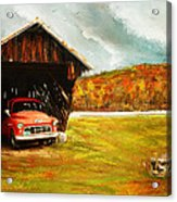 Old Barn And Red Truck Acrylic Print