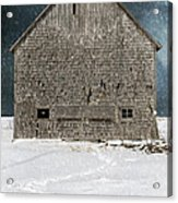 Old Barn In A Snow Storm Acrylic Print by Edward Fielding