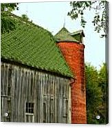 Old Barn With Brick Silo II Acrylic Print