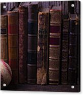 Old Baseball And Books Acrylic Print