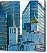 Old Believer-new Believer Church Amid Skyscrapers In Moscow-russia Acrylic Print