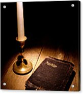 Old Bible And Candle Acrylic Print by Olivier Le Queinec