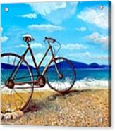 Old Bike At The Beach Acrylic Print by Kostas Koutsoukanidis