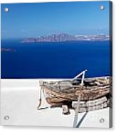 Old Boat On The Roof Of The Building On Santorini Greece Acrylic Print