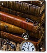 Old Books And Pocketwatch Acrylic Print