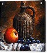 Old Bottle And Fruit Acrylic Print