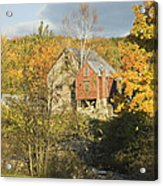 Old Buildings And Fall Colors In Vienna Maine Acrylic Print by Keith Webber Jr