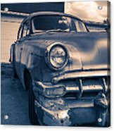 Old Car In Front Of Garage Acrylic Print