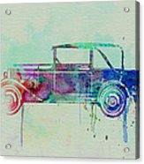 Old Car Watercolor Acrylic Print by Naxart Studio