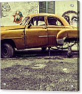 Old Car/cat Acrylic Print