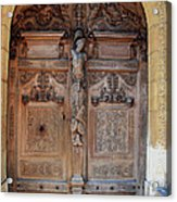 Old Carved Church Door Acrylic Print