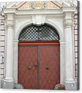 Old Carved Red  Door Acrylic Print