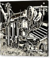 Old Case Thresher - Black And White Acrylic Print