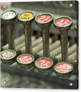 Old Cash Register Keys - Shillings And Pence  Acrylic Print by Sally Nevin