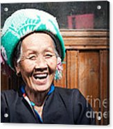 Old Chinese Zhuang Minority  Lady Smiling China Acrylic Print