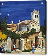 Old Church And Flower Girl Acrylic Print