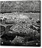 Old City Of Toledo Bw Acrylic Print