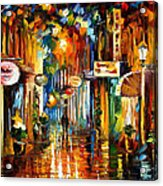 Old City Street - Palette Knife Oil Painting On Canvas By Leonid Afremov Acrylic Print