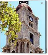Old Clock Tower In Rhodes City Greece Acrylic Print