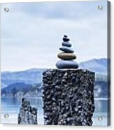 Old Concrete Jetty Posts Governors Bay Banks Peninsula New Zealand Acrylic Print