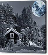 Old Cottage And Landscape With A Full Moon Acrylic Print