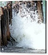 Old Dock Pilings Beaten By Waves Acrylic Print