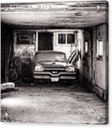 Old Dodge Car In Garage Acrylic Print