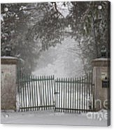 Old Driveway Gate In Winter Acrylic Print