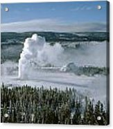 3m09132-01-old Faithful Geyser In Winter Acrylic Print