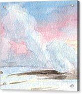 Old Faithful Sunrise Watercolor Painting Acrylic Print