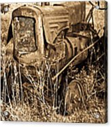 Old Farm Tractor In Sepia 1 Acrylic Print