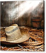 Old Farmer Hat And Rope Acrylic Print