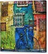 Old Fashion Bike And Blue Wall Acrylic Print