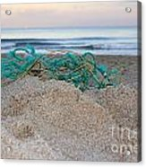 Old Fishing Net On Beach Acrylic Print