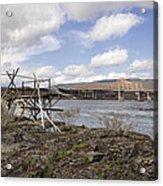 Old Fishing Platform By The Dalles Bridge Acrylic Print