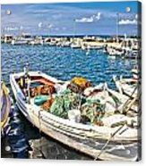 Old Fishing Wooden Boat With Nets Acrylic Print