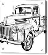 Old Flat Bed Ford Work Truck Illustration Acrylic Print