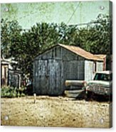 Old Garage And Car In Seligman Acrylic Print