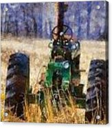 Old Green Tractor On The Farm Acrylic Print