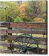 Old Green Wagon Wheel Acrylic Print
