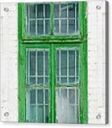 Old Green Wooden Window Acrylic Print